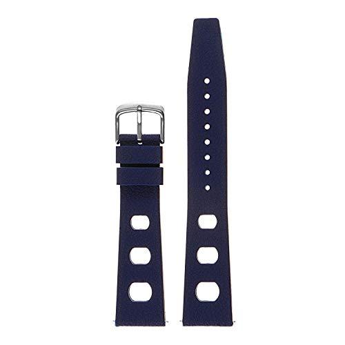 StrapsCo Bracelet de Montre de Plongée Rallye Style Vintage en Caoutchouc de Silicone - Barrette à Relâchement Rapide - 18mm 19mm 20mm 21mm 22mm - Choix de Couleur