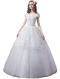 CAIM-Vestidos Vestido de Novia Largo con Pliegues de Encaje con Hombros Descubiertos Vestido de