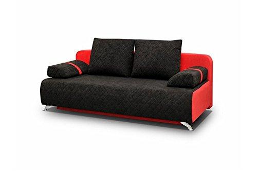 Chloe Design Canapé Convertible en Tissu Lina - Noir Rouge