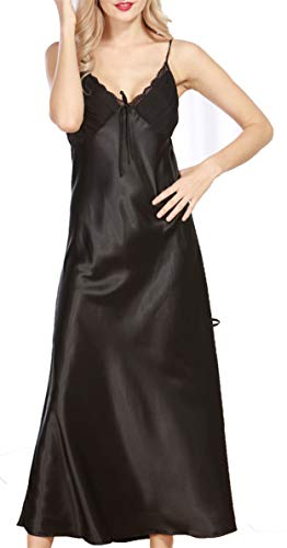 Uhnice Damen Nachtwäsche Satin Nachthemd V-Ausschnitt Nachtwäsche Full Slip Lounge Kleid - Schwarz - Medium -
