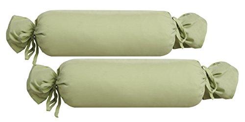 Biberna 0077144 Jersey-Kissenhülle für Nackenrolle aus 100 % Baumwolle, 2er-Pack, 15 x 40 cm Pistaziengrün, 27 x 18 x 2 cm -