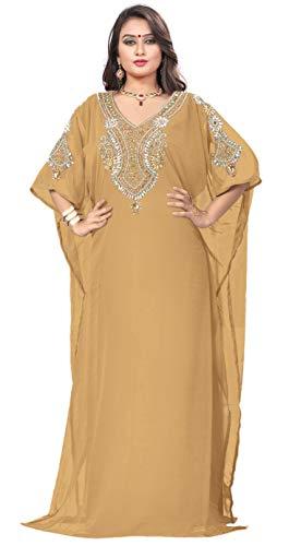 Dubai - Vestido Estilo Bollywood de Oriente Medio, Hecho a Mano, de diseño Kaftan Caftan Farasha Jalabiya, Vestido Informal Abaya para Fiesta, Noche, Playa, Swag Real, diseño n.º 17, Talla única