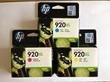 HP 920XL CYAN/YELLOW/MAGENTA (3 Originalpatronen) bestehend aus CD972AE CD973AE CD974AE für HP Officejet 6000 6500 6500wireless 6500A Officejet 7000 7500A Druckerpatronen + incl. 10 Blatt Photopapier 10x15cm (240g/m²)