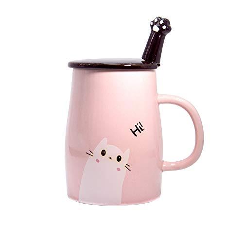 Binoster Niedliche Katzen-Tasse Keramische Kaffeetasse mit Kitty Edelstahllöffel, Hi ~ Neuheit-Kaffeetasse Geschenk für Katzenliebhaber Rosa (Rosa) -