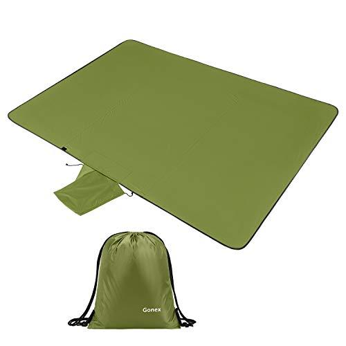 Gonex Picknickdecke 140 x 200 cm, wärmeisoliert Fleece Campingdecke wasserdicht und waschbar mit Turnbeutel, Armeegrün