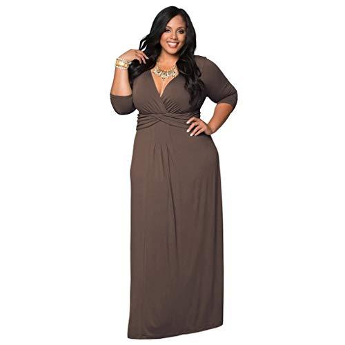 LOPILY Abendkleider Langes Kleider Damenmode Einfarbig V-Ausschnitt Unregelmäßiger Ärmel Strandkleid Partykleid Plus Size Hoher Taille Elegante Party Maxikleid(X1-Grau,EU-44/CN-3XL)