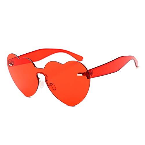 Masterein Frauen-Herz-Form-Sonnenbrille Frameless Transparent-Süßigkeit-Farben-Gläser UV400 Täglich Brillen