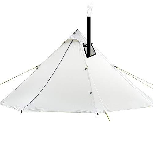 XUMENG Camping Tentes, 3-4 Personnes Ultra-Léger Étanche Camping en Plein Air Tipi 20D Silnylon Pyramide Tente avec Cheminée Sac À Dos Randonnée Tentes