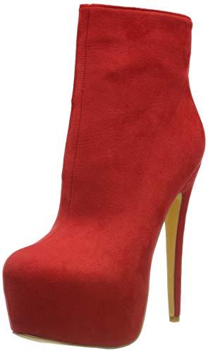 EKS Frauen Frühling Winter Stiefeletten Reißverschluss Nieten Dekoration Extreme High Heel Stiefel