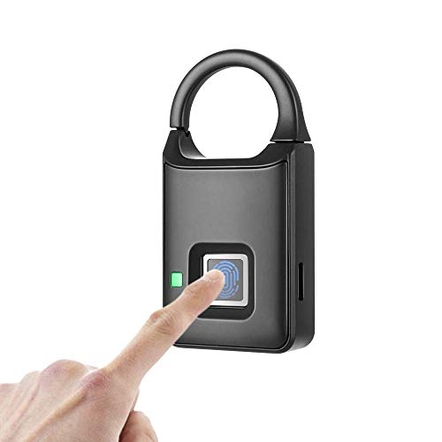 Modohe - Candado de huella dactilar, sin llave, inteligente, biométrico, portátil, antirrobo, apto para gimnasio, armario, puerta, mochila, equipaje, maleta, bicicleta, oficina, soporte de carga USB.