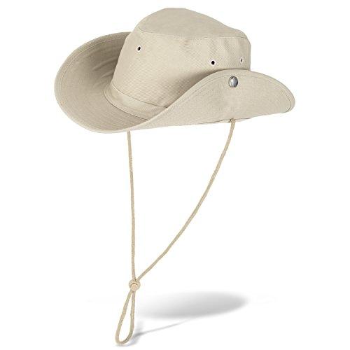 (Black Snake Buschhut Safarihut mit Druckknopf Damen und Herren Sonnenhut - Beige - 59)