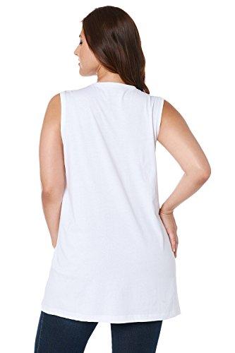 Ulla Popken Femme Grandes tailles Débardeur Femme Sans manches Vest T-shirt Coton Caraco Top t-shirt dentelle blouse courtes manches 531122 Blanc