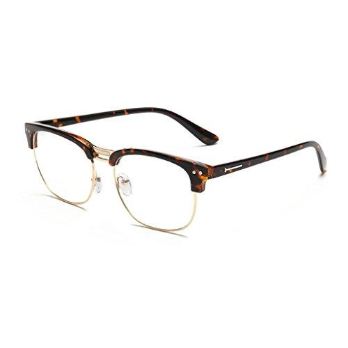 Junecat Retro Halbrand Brillen Blau Film Strahlungsgläser freie Objektiv-Brillen Brillen
