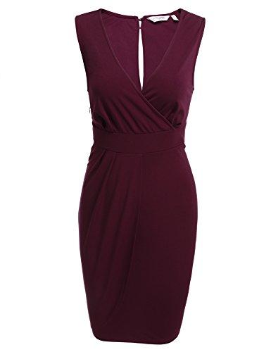 Damen Etuikleid V-Ausschnitt Wickelkleid Bleistiftkleid Ärmellos Knielang Bodycon Kleid Business Kleid mit Rüschen Weinrot