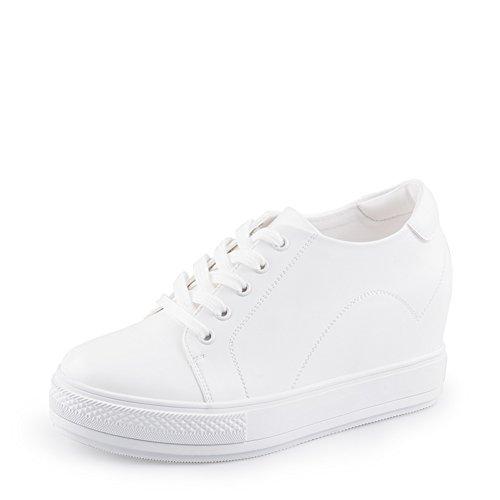 Tête ronde bracelet chaussures pour l'automne/hiver/Chaussures stealth accrues/Chaussures occasionnelles de dames/Petites chaussures blanches A