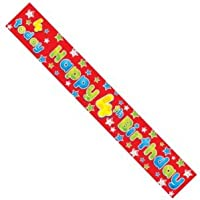 Age 4 Boy Red Foil Party Banner - Happy 4th Birthday with Dinosaurs - 2.6m