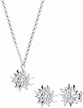 Elli Damen-Schmuckset Halskette + Ohrringe Edelweiss Wiesnschmuck 925- 0908610515_40