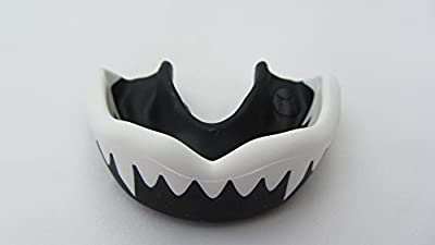 Gum Shield Mouth Guard (SHARK) TEETH Black/White Rugby MMA Martial Arts Boxing Hockey - The Ultimate Protection - Size Senior by SHIHAN GUM SHIELD
