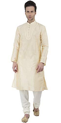 SKAVIJ Designer indische Kurta Pyjama Männer Hochzeit Pyjama Kleid ethnische Langarm-Hemd Kleid-m