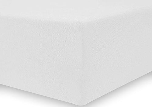 DecoKing 18101 80x200-90x200 cm Spannbettlaken weiß 100% Baumwolle Jersey Boxspringbett Spannbetttuch Bettlaken Betttuch White Amber Collection - 4