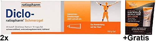 2x 150g Diclo-Ratiopharm Schmerzgel +Gratis 5g Tiger Balm Nacken & Schulter Balsam