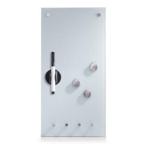 Zeller 11610 Lavagnetta magnetica in vetro con ganci, 20 x 4 x 40 cm, calamite incluse, colore: Bianco