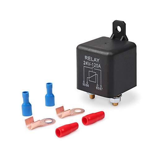 Ehdis® 24V 120A 4 Pin Auto Scatola Nera Relay batterie per Automobili sul Traffico Pesante Camion Escavatore Van Barca + 2 Pin Footprint + 2 Terminal [1 Set]