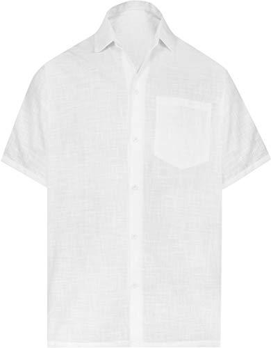 LA LEELA Männer Aloha Urlaub Urlaub Polterabend Hawaii-Hemd Strand-Taste gedrückt Weiß_AA229 XS - Brustumfang (in cms) : 91-96