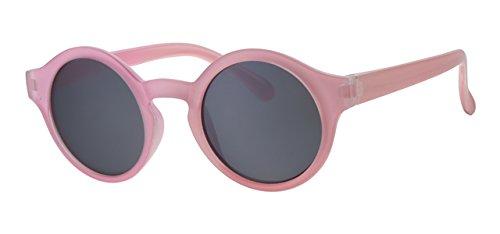 Eyewear World Kinder-Sonnenbrille, rund, Kunststoff, rosafarbener Rahmen, Schwarze Gläser