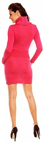 Zeta Ville Maternité Mini robe en maille grossesse col roulé poche - femme 178c Fuchsia