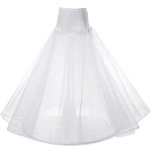 LONGBLE Unterröcke Petticoat weiß Lang Reifrock Unterrock für Damen Brautkleid Hochzeit Party Barock Kleid Crinoline Underskirt mit Spitze Krinoline Bühnenperformance