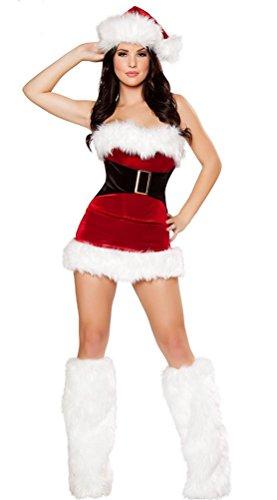FENGHAO Sexy Fräulein Red Womens Fancy Dress Outfit Frau Weihnachts Kostüm mit Beinabdeckungen