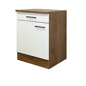 MMR Küchen-Unterschrank GLASGOW – 1-türig – 1 Schublade – Küchenschrank – 30 cm breit – Creme Matt