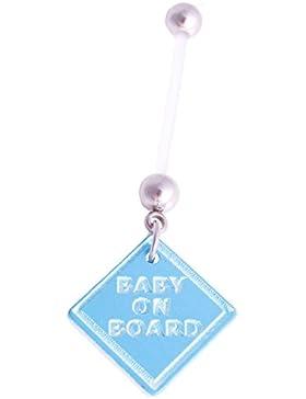 Piercing Bauchnabelpiercing Flexi Stab Kunststoff Schwangerschaft Baby Füsse an Board Anhänger Edelstahl