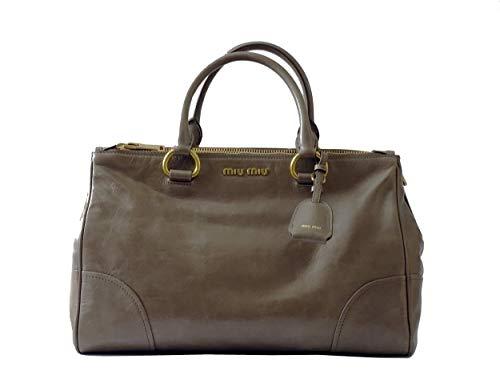 Miu Miu Tasche (Miu Miu - RN1091 - Damen Tasche - Vitello Shine - Leder - Doppel Zipp - Giunco - Bag - 36/12,5/23cm)