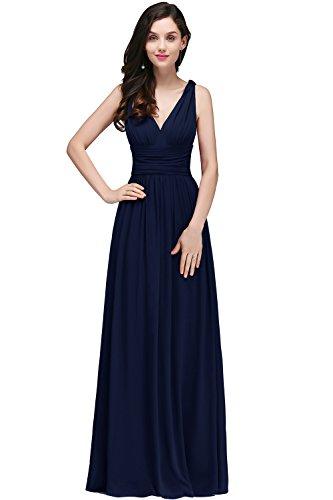 Damen Elegant Chiffon A-Line Brautkleid Hochzeitskleid Standesamt Rückenfrei maxilang Navy Blau 42 -