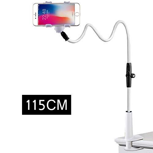 Enllonish Handy-Halterung, 115 cm, Flexibler Schwanenhals, Klemme für iPhone, Geräte, passt auf Schreibtisch, Bett, Mobile-Ständer für Schlafzimmer, Büro etc. (Black/White) -