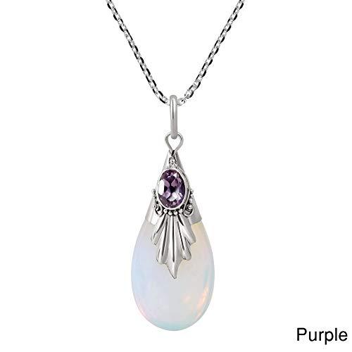 QINJLI Dame Halskette, weißer Mondstein Anhänger Träne Tropfen birnenförmigen Silberschmuck -