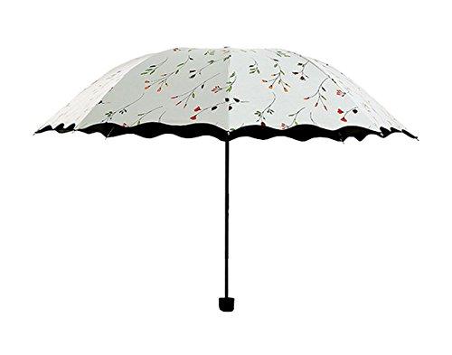 Hacoly Sonnencreme Regenschirm Hoher Dichte Impact Tuch Rüschen Taschenschirm Sturmfest Schirm, Leicht Kompakt, Vinyl-Beschichtung, windsicher, Stabil, UV-Schutz - Wasser-Muster Weiss