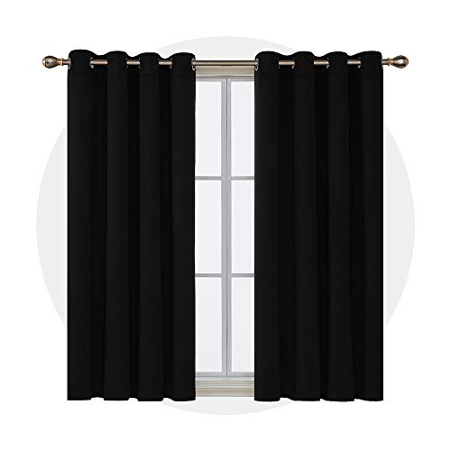 Deconovo Cortinas Opacas para Dormitorio y Salón Térmica Aislante con Ojales 2 Paneles