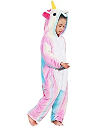 d3d4eae633958 Kenmont Déguisement Combinaison Licorne Pyjama Grenouillère Enfants Animal  Pyjamas Costume à Capuche Halloween Carnaval ...
