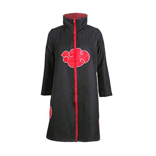 Akatsuki Mantel Kostüm - D.F.L Naruto Akatsuki Mantel Cosplay Kostüm Cloak,Cosplay Umhang Akatsuki Itachi Mantel Gewand Kostüm - Konoha Stirnband Headband Anime , Itachi Uchiha (M:150-160cm)