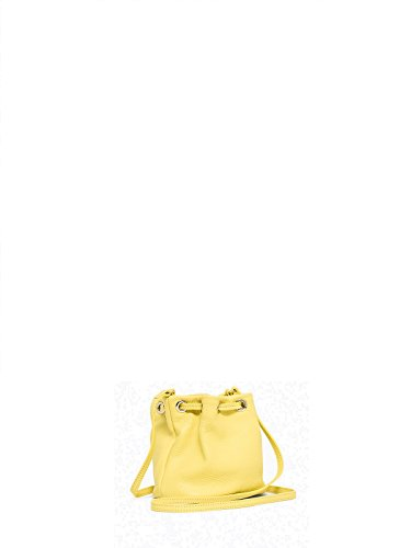Patrizia Pepe Lock Fly Mini Bag sac bourse fourre-tout cuir 15 cm Jaune
