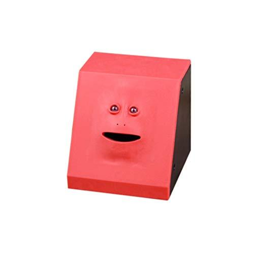 Oyamihin Geld Essen Gesicht Box Nette Facebank Piggy Coins Bank Lustige Geld Münze Sparen Bank Kinder Spielzeug Geschenk Dekoration - Panel Rot