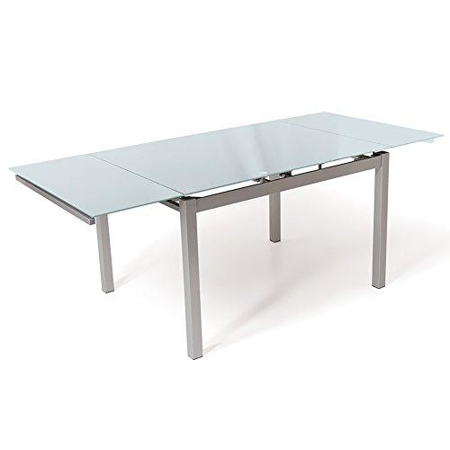 Bakaji tavolo allungabile lunghezza 140-200 cm per casa cucina sala pranzo piano in vetro temperato bianco e struttura in metallo grigio dimensioni 80 x 75 x 140/200 cm