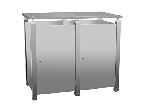 Mülltonnenbox Modell Pacco EG für zwei 120 ltr. Tonnen in Edelstahloptik