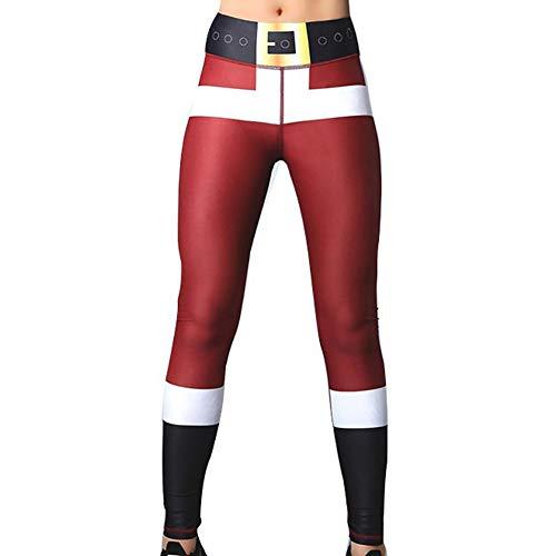 Women es Digital Print Skinny Leggings Sexy Women Tights Christmas Running Yoga Pants Xmas Outfit (Santa Red Pants, L) 1Pc
