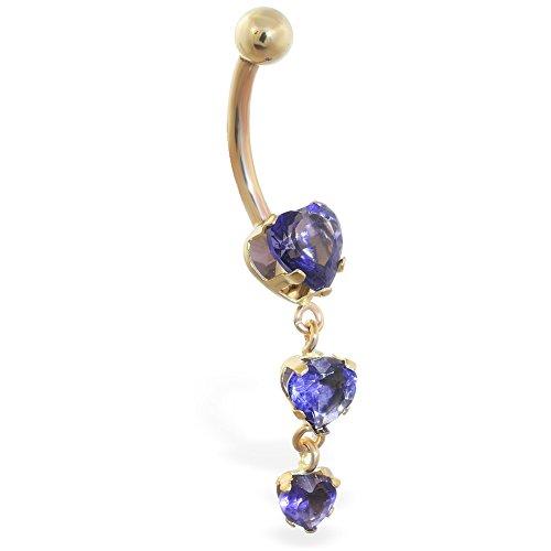 MsPiercing  -  14 Kt  Gelbgold Herzschliff   lila Améthyste  (Violett Ringe Belly Button)