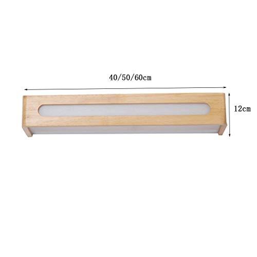 DENA Moderner geführter nordischer Heller Spiegel vor festem Holz angewendetem kreativem Badezimmer-Toilettenspiegel des Eitelkeits der Lampen des Lichtes mit Hauptgebrauch,50cm12w - Badezimmer-eitelkeit-holz-eitelkeit