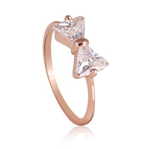 Gold Diamond Rose Ring Engagement (FAIRY COUPLE Damen Ring, Schleife, mit dreieckigem Cubic Zirkonia R422 59 (18.8))
